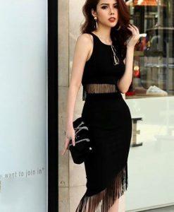 Bộ áo váy tua rua thiết kế ôm body tôn dáng và cá tính - JN43
