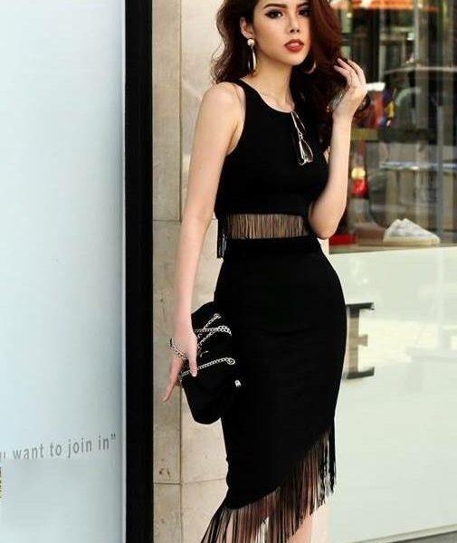 Bộ áo váy tua rua thiết kế ôm body tôn dáng và cá tính – JN43