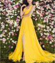 Váy dạ hội xẻ đùi cao khoét ngực sâu chân váy xếp ly - D372