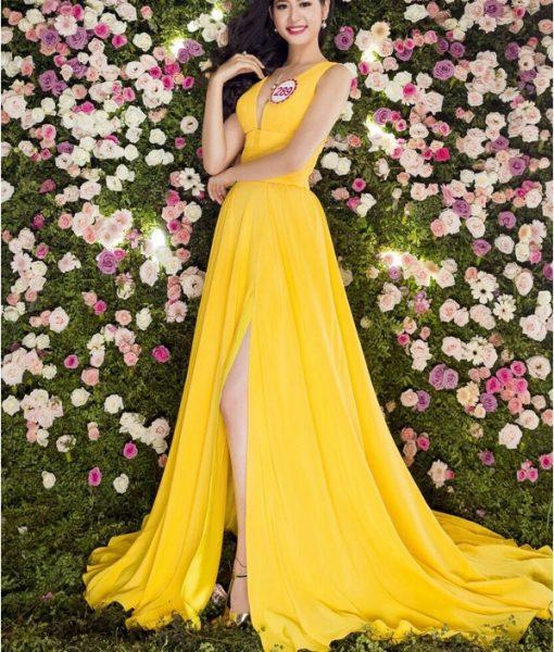 Váy dạ hội xẻ đùi cao khoét ngực sâu chân váy xếp ly – D372