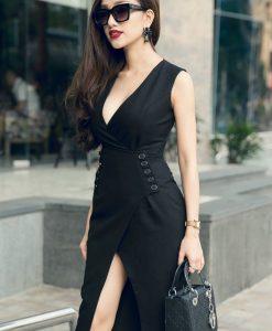 Đầm đen vạt chéo ôm body thiết kế sang trọng, quý phái - DN291