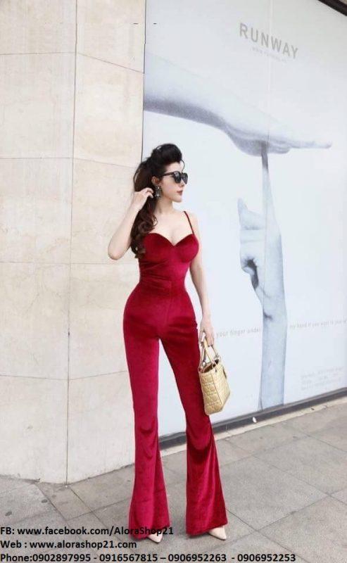 Jumpsuit cao cấp đỏ đô cúp ngực ôm body tôn dáng - J77