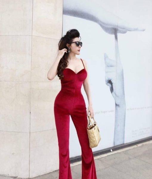 Jumpsuit cao cấp đỏ đô cúp ngực ôm body tôn dáng – J77