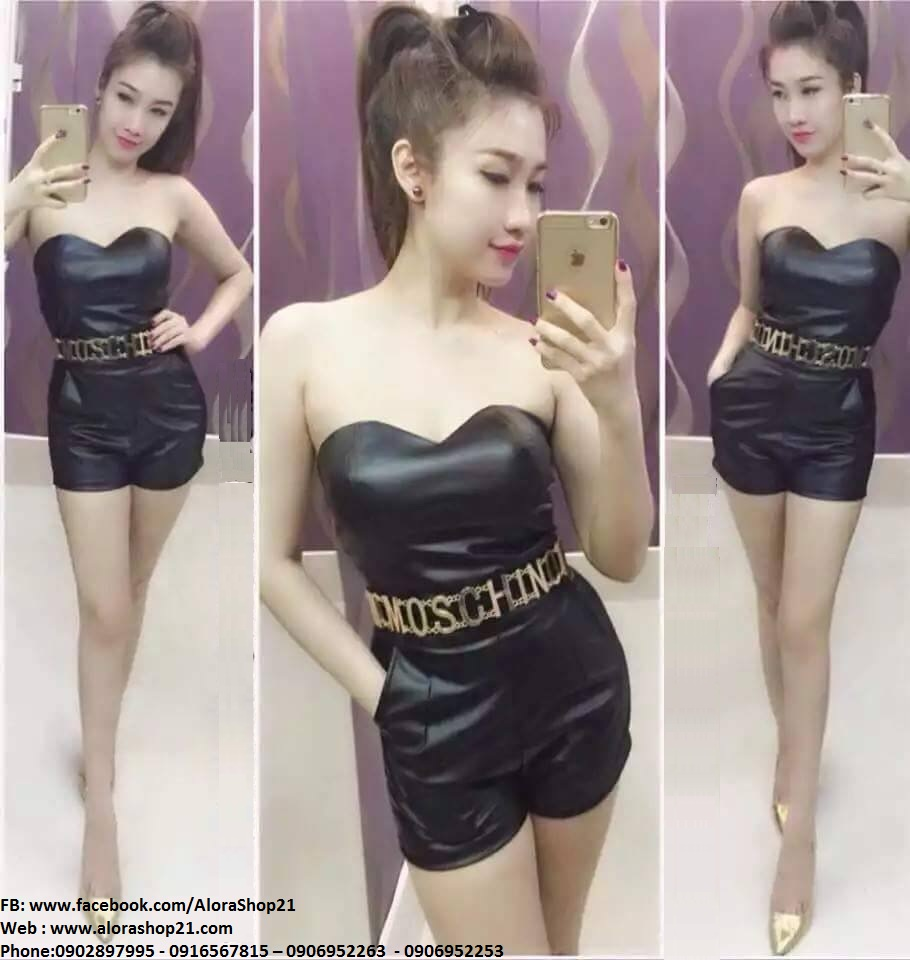 Jumpsuit short đen cúp ngực ôm body tôn dáng - JN44