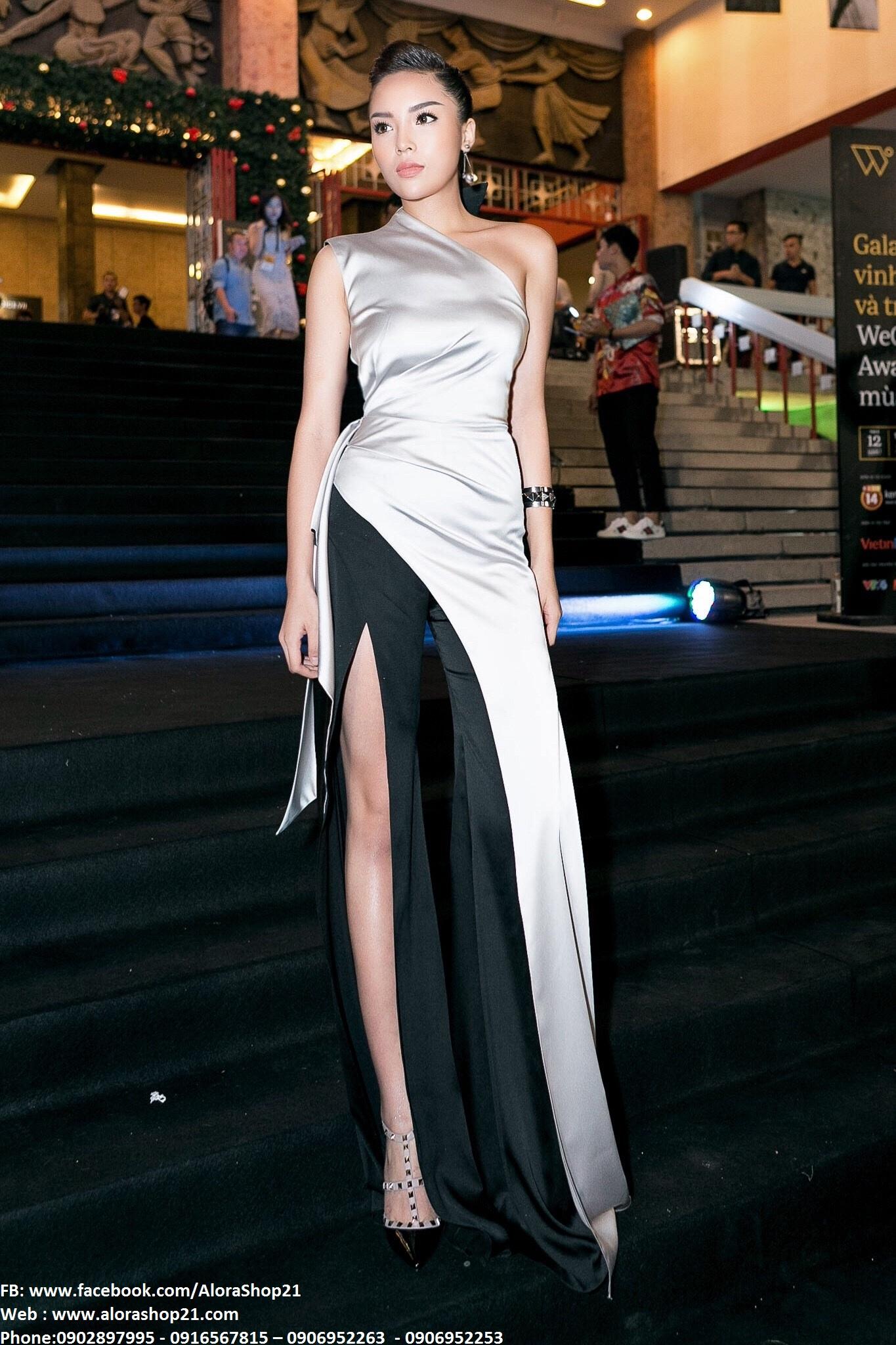 Váy dạ hội lệch vai xám phối đen tinh tế sang trọng như Kỳ Duyên - D375