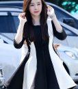 Đầm xòe cao cấp dài tay trắng phối đen sang trọng dễ thương – DN296