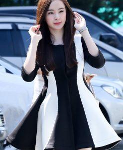 Đầm xòe cao cấp dài tay trắng phối đen sang trọng dễ thương - DN296