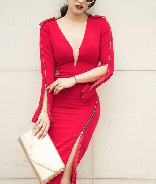 Váy ôm đỏ dài tay xẻ ngực tinh tế sang trọng – DN297