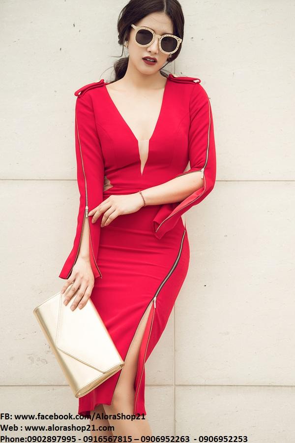 Váy ôm đỏ dài tay xẻ ngực tinh tế sang trọng - DN297
