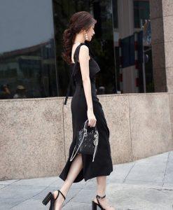 Váy đen hai dây ôm body tinh tế sang trọng – DN298