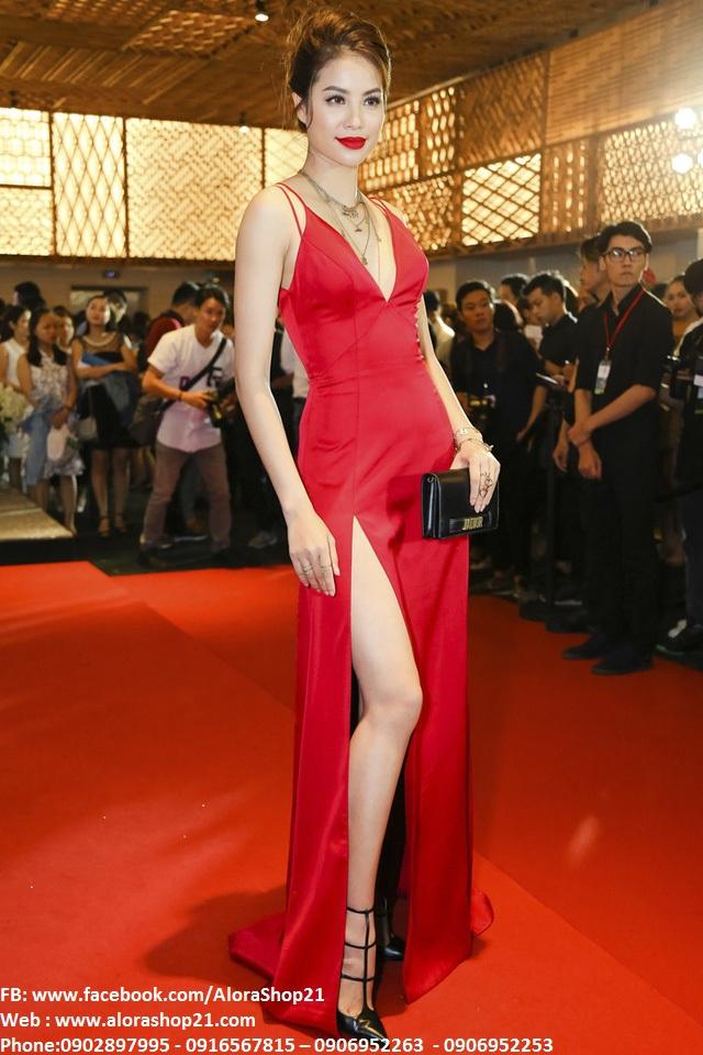 Đầm dạ hội xẻ đùi khoét ngực sâu như Phạm Hương - D379