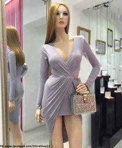 Váy dạ hội dài tay khoét ngực sâu ôm body sexy tôn dáng - D380