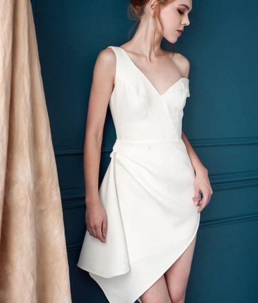 Đầm trắng lệch vai sexy tinh tế sang trọng - DN299