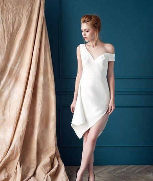 Đầm trắng lệch vai sexy tinh tế sang trọng – DN299
