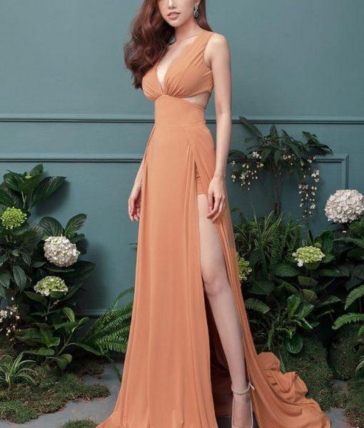 Đầm dạ hội xẻ chân thiết kế xẻ cao lót quần bên trong – D382