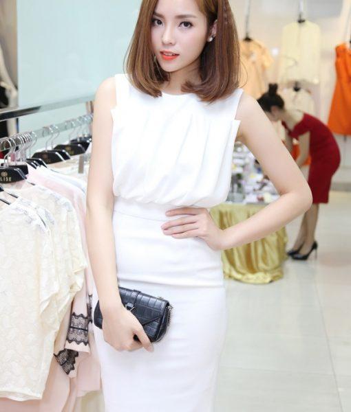 Đầm body trắng xếp ly sang trọng quý phái như Kỳ Duyên – DN318