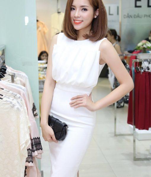 Đầm body trắng xếp ly sang trọng quý phái như Kỳ Duyên - DN318