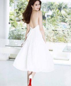 Đầm xòe thiết kế hai dây hở lưng sexy như Ngọc Trinh - DN407