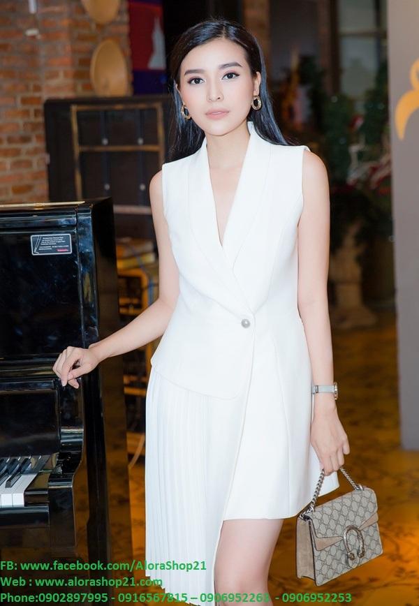 Đầm vest trắng ôm body khoét ngực sâu sang trọng - DN408