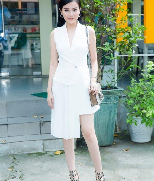 Đầm vest trắng ôm body khoét ngực sâu sang trọng – DN408