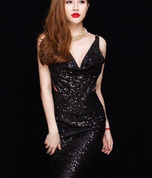 Đầm kim sa đen thiết kế cổ đỗ hở lưng ôm body sexy – DN409