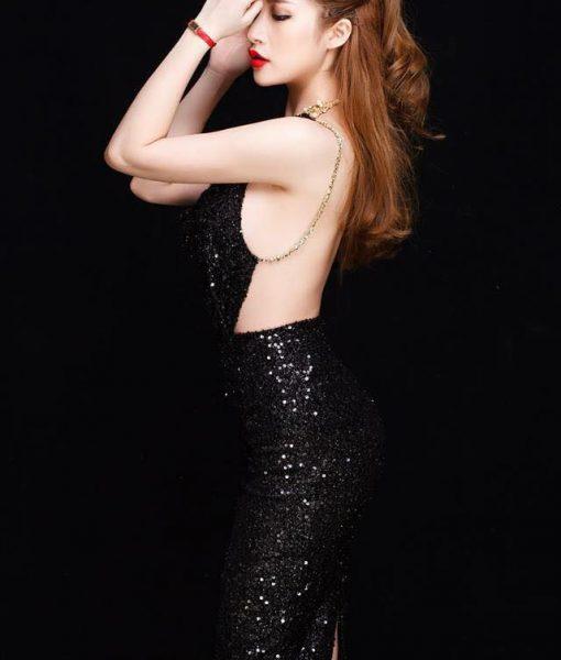 Đầm kim sa đen thiết kế cổ đỗ hở lưng ôm body sexy - DN409