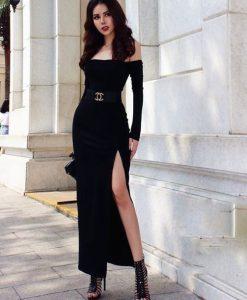Đầm dạ hội đen kiểu tay dài vai ngang xẻ tà - D386