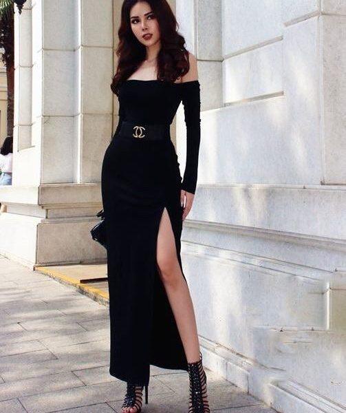 Đầm dạ hội đen kiểu tay dài vai ngang xẻ tà – D386