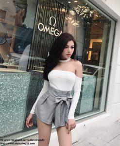 Set áo đen tay dài thiết kế trễ vai và chân váy ngắn tuyệt đẹp - JN46