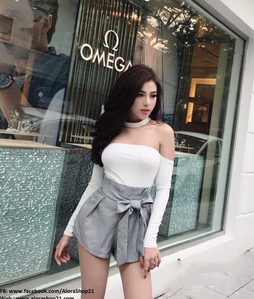 Set áo đen tay dài thiết kế trễ vai và chân váy ngắn tuyệt đẹp – JN46