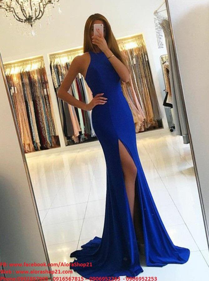 Váy dạ hội dài xanh coban cổ yếm xẻ đùi cao - D388