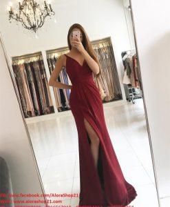 Đầm dạ hội hai dây cúp ngực xẻ đùi cao tôn dáng – D389