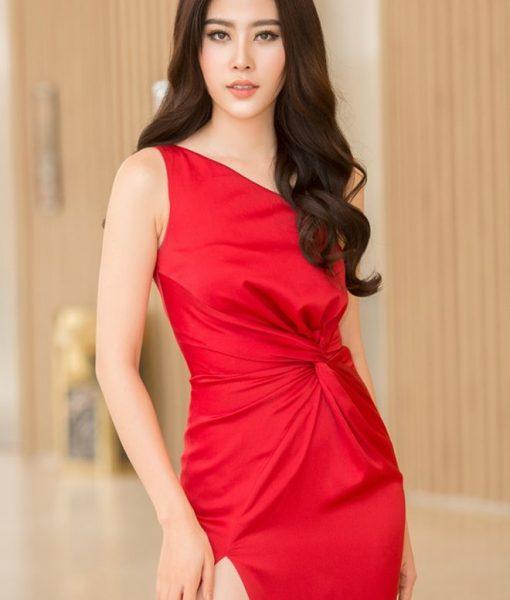 Váy dạ hội đỏ lệch vai nhún eo cách điệu lạ mắt - D401