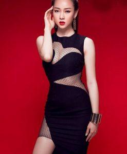 Đầm đen ôm body sexy thiết kế phối lưới tuyệt đẹp - DN413