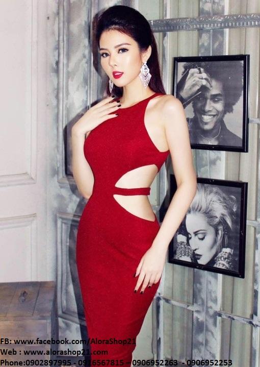 Đầm body đỏ cut out ôm body cực tôn dáng - DN414
