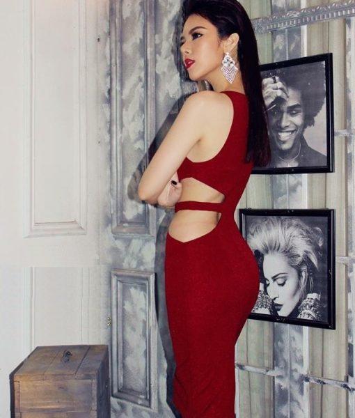 Đầm body đỏ cut out ôm body cực tôn dáng – DN414