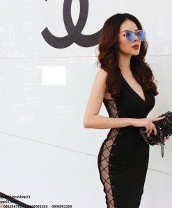 Đầm body sexy cut out eo đan dây quyến rũ - DN415