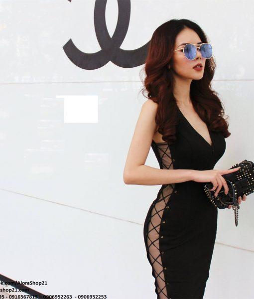 Đầm body sexy cut out eo đan dây quyến rũ – DN415