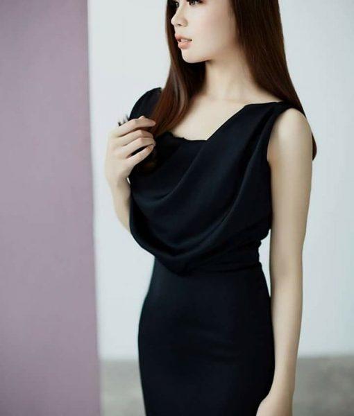 Váy đen ôm body cổ đỗ trước sang trọng sành điệu – DN416