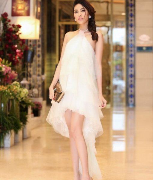 Váy ôm trắng cổ yếm sang trọng thanh lịch như Phạm Hương – DN417