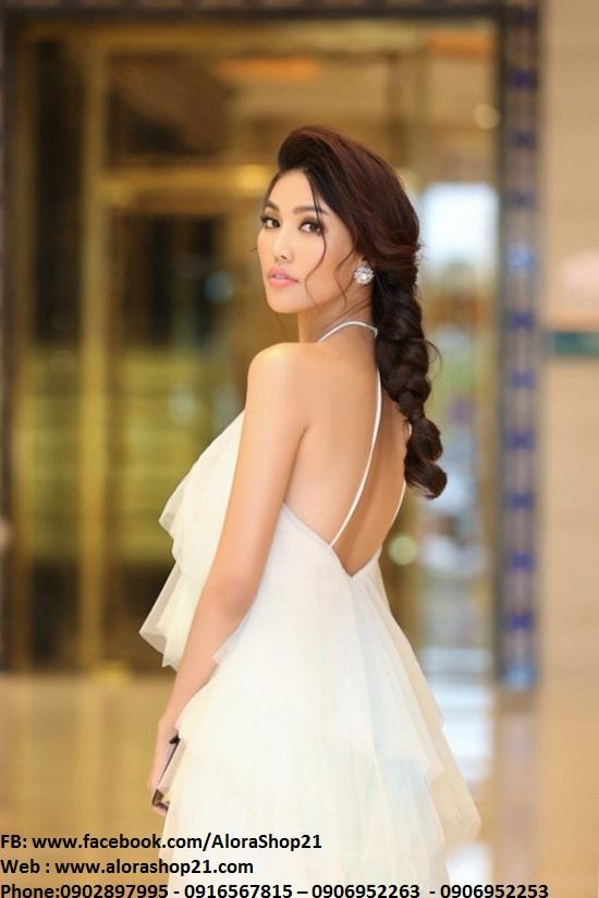Váy ôm trắng cổ yếm sang trọng thanh lịch như Phạm Hương - DN417