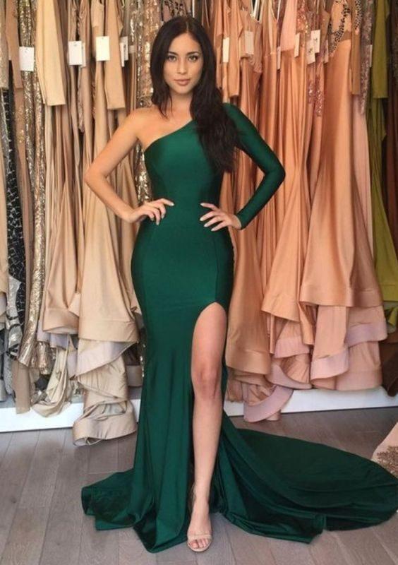 Đầm dạ hội lệch vai phối tay dài trẻ trung sang trọng – D402