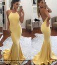 Váy dài cổ yếm vàng hở lưng đuôi cá xòe quyến rũ - D396