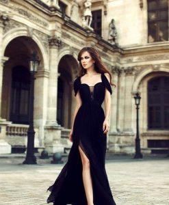 Đầm dạ hội voan cúp ngực xẻ đùi cao thanh lịch quyến rũ - D397