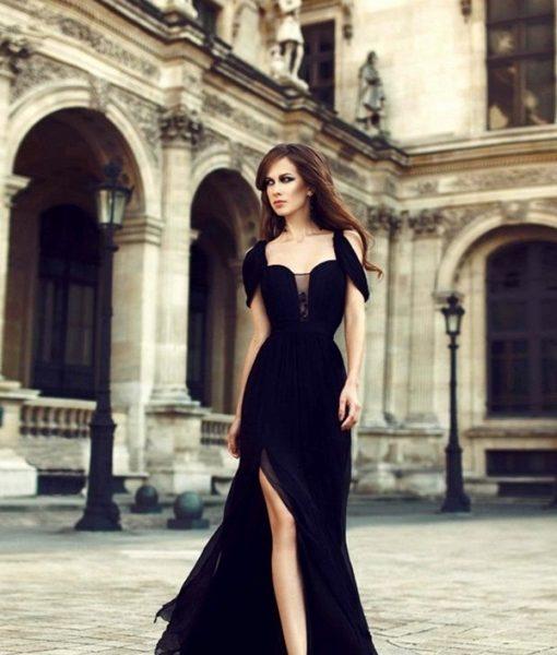 Đầm dạ hội voan cúp ngực xẻ đùi cao thanh lịch quyến rũ – D397