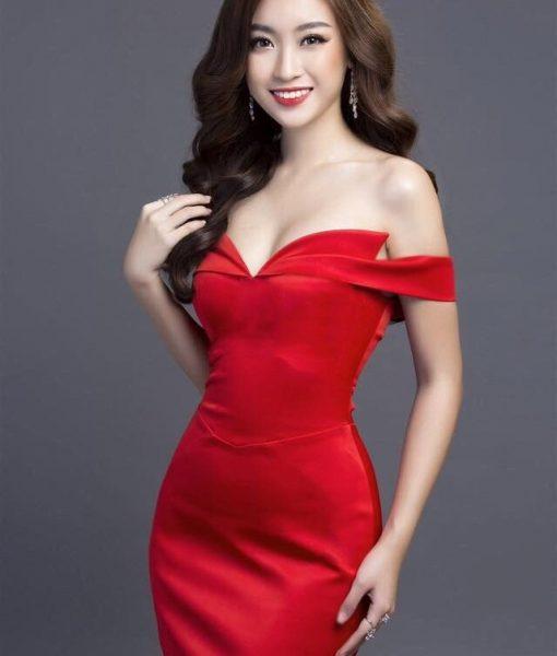Đầm dạ hội đỏ đẹp thiết kế cúp ngực trễ vai ôm body - D405