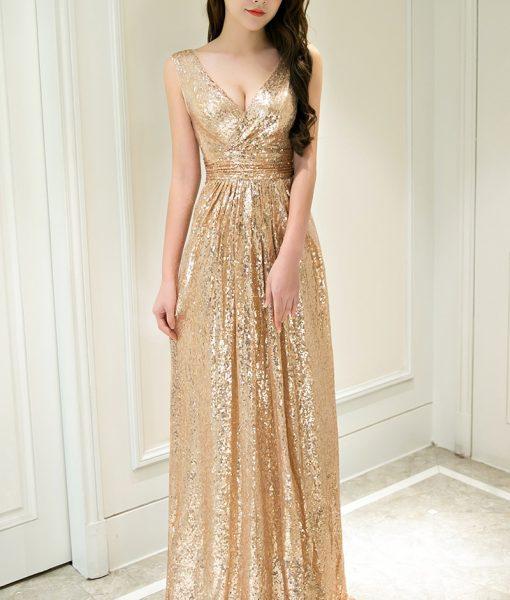 Đầm dạ hội vàng kim sa cao cấp quý phái sang trọng – D406