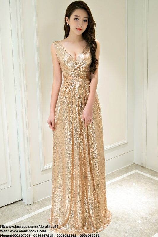 Đầm dạ hội vàng kim sa cao cấp quý phái sang trọng - D406
