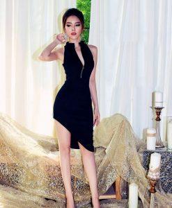 Đầm đen ôm body cao cấp thiết kế xéo tà xẻ ngực - DN418
