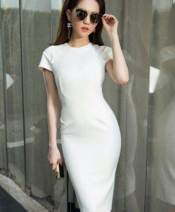 Đầm dự tiệc ôm body trắng trẻ trung thiết kế đơn giản - DN419